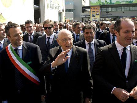 La visita del presidente Napolitano a Verona tra il sindaco Flavio Tosi e il presidente della Regione Luca Zaia