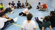 Esercizi anche in palestra per i partecipanti all'iniziativa